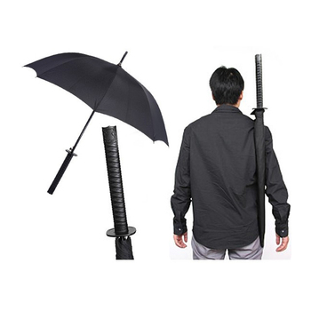 Anime Anese Samurai Pure White Black Sword Umbrella With Shoulder Carrier Bag