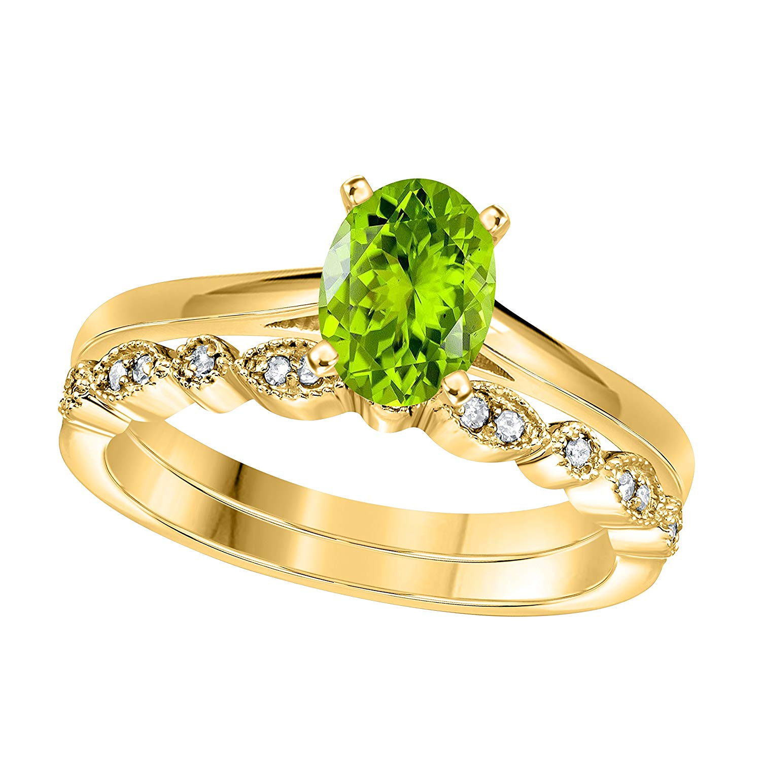 Jewelryhub 1.00 Ct Oval & Round Cut Green Peridot & White CZ Diamond 14k Yellow Gold Plated Sterling Silver Art Deco Vintage Design Wedding Bridal Ring Wedding Ring Set Engagement Ring Sets Size 5-10