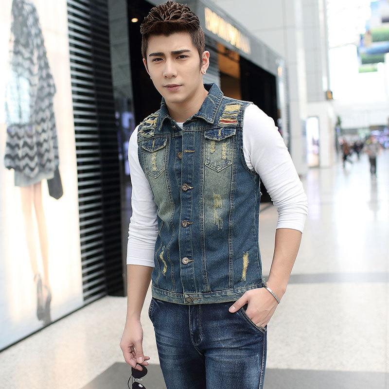 New Men's Denim Vest Brand Jeans Vest Men Cowboy Vest Denim ...