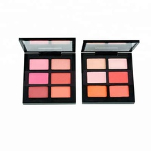 Private Label Cosmetica Gezicht Make-Up <span class=keywords><strong>Blush</strong></span> Palette Hoge Pigment 6 Kleur Geen Merk Biologische Roze Poeder OEM Blusher