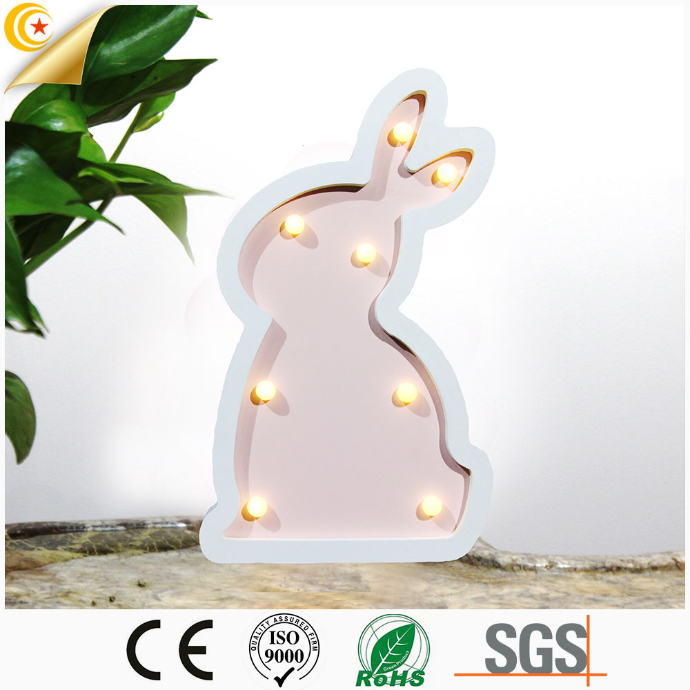Hot sale holiday decoration lighting easter bunny rabbit decoration marquee led night lamp light