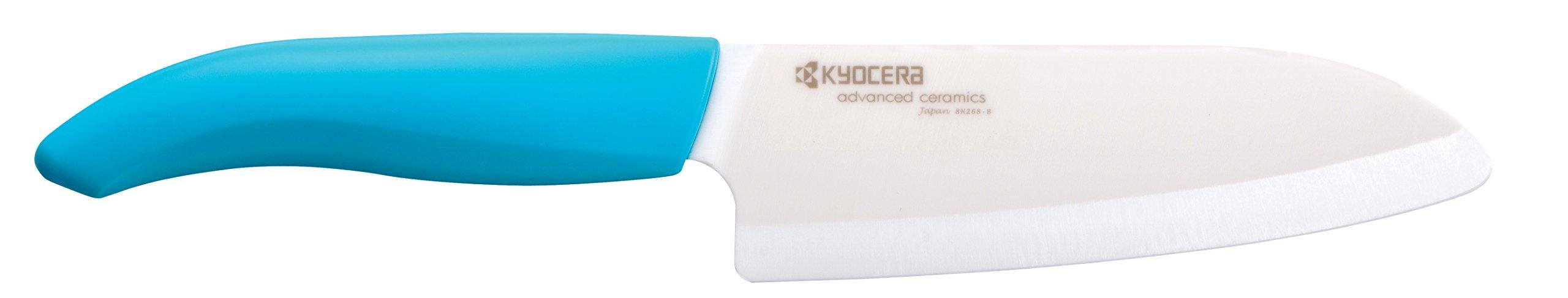 Kyocera Advanced Ceramic Revolution Series 5-1/2-inch Santoku Knife, Blue Handle, White Blade