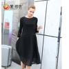 2015 fashion design fat women short dress chiffon pleated black dress