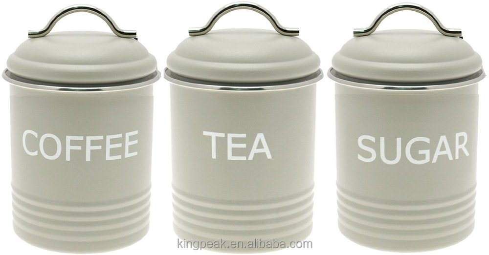 Hot Set Of 3 Vintage Retro Style Airtigh Metal Tea Coffee And Sugar Canisters