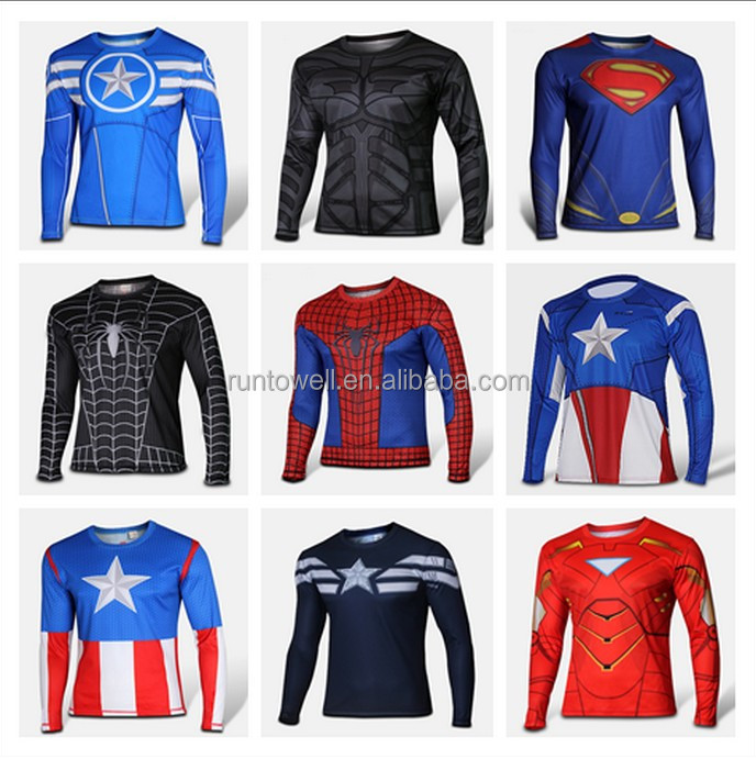 hot sale super hero spider man t shirt ;long sleeve compression shirt