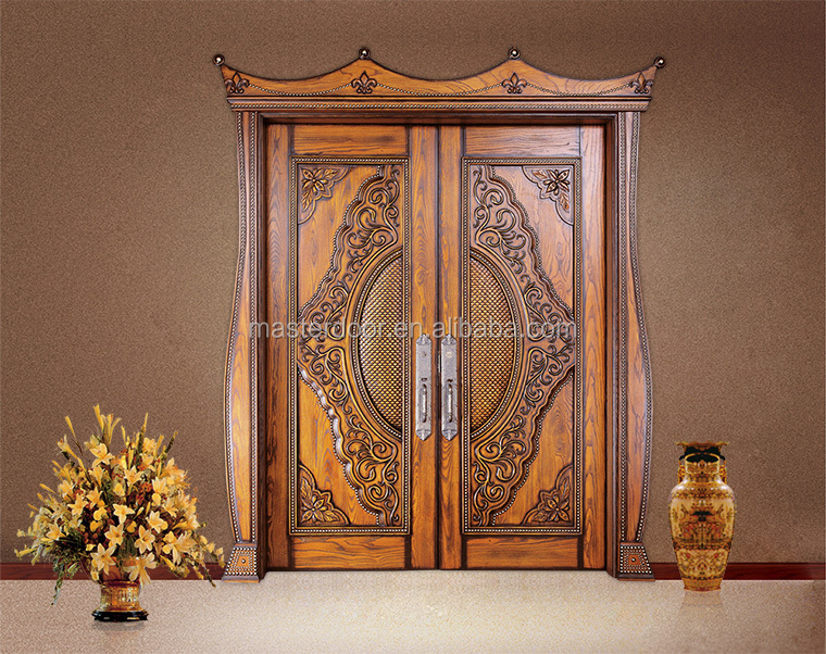 Karachi teak wood front double doors carving designs buy for Front double door designs indian houses