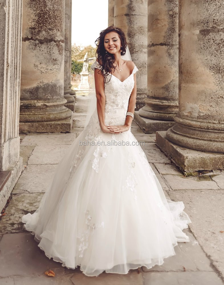 A-line wedding gown lace wedding dress model 2018