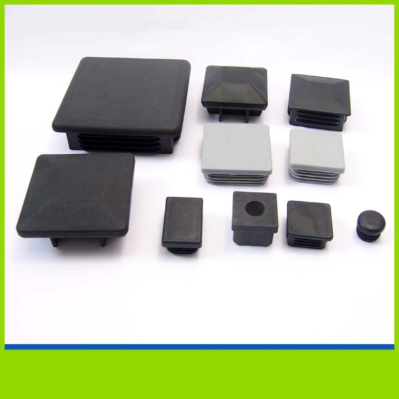 Black pp rectangular steel pipe plastic end caps pfc