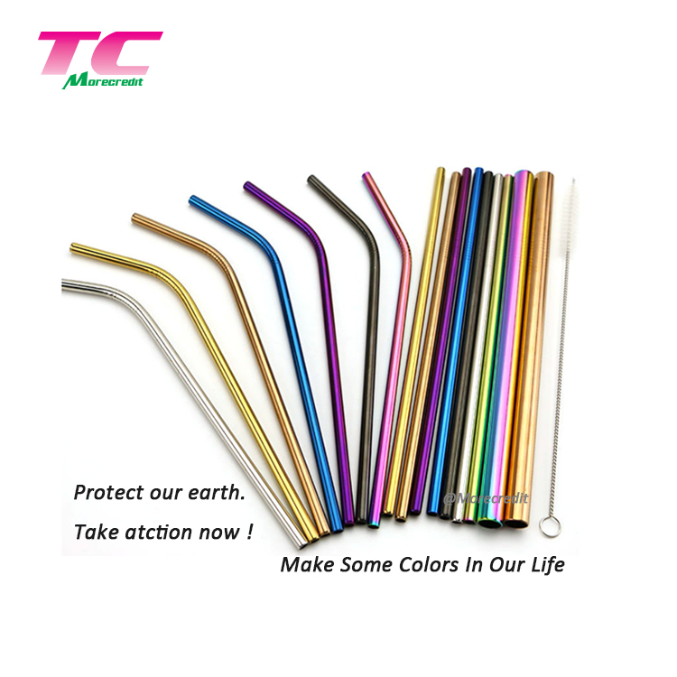 Morecredit Hot Selling 19cm Biodegradable Drinking Bamboo Straws Wholesale 12Pcs Pack Reusable Bamboo Straw With Brush