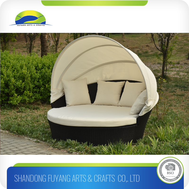 best Fashion Outdoor Rattan Lounger Sunbed With Canopy