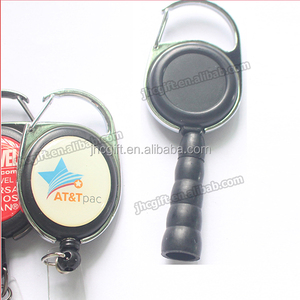 factory direct custom carabiner retractable badge reel with pen holder