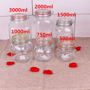 zibo glass jar honey jars mason clip lid 500 ml round and square shape with glass/ceramic/wooden lid