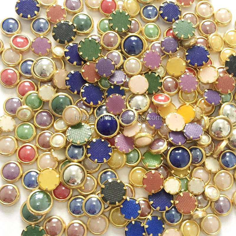 4mm Full Colors Hotfix Ceramic Rhinestones Metallic Gold Rim Domestuds DMC Crystals Hot Fix Strass Stones DIY Iron On Rhinestone
