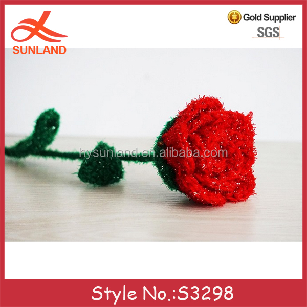 S3298 fashion home decoration knitted patterns rose hand crochet flowers for sale