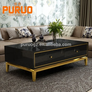 Black table top gold metal base wooden living room center coffee table