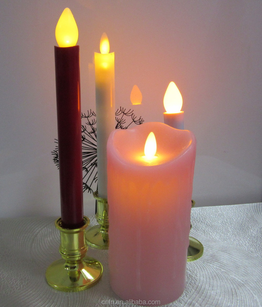 Hot sale 2015 new led wick moving taper candle for church candle with AA battery in ABS material with base