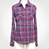 Ladies' fashion yarn dye check long sleeves two pockets at front stand collar fashion blouse back neck design