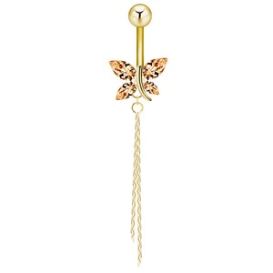 Butterfly Navel Rings Stainless Steel Barbell Piercing Jewelry Champagne Gold Rhinestone Butterfly Belly Button Rings