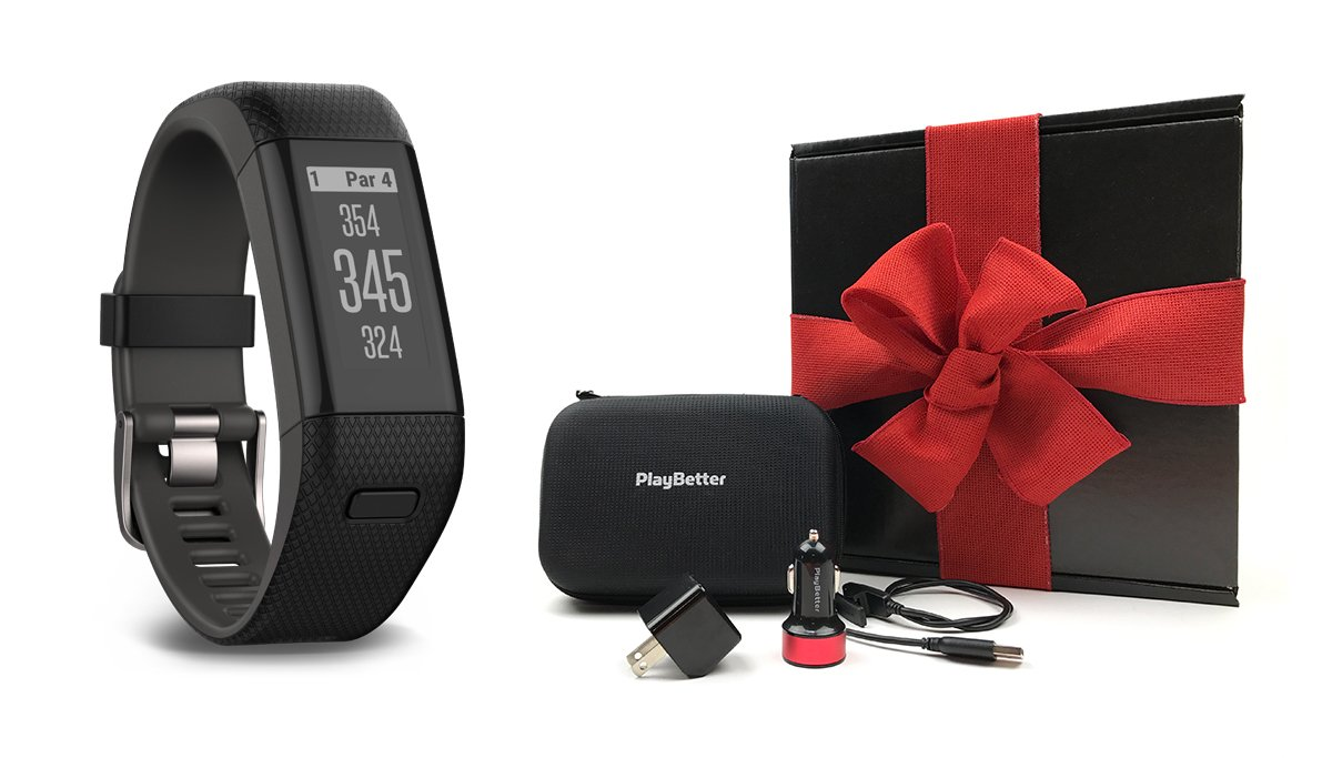 Garmin Approach X40 (Black/Gray) Gift Box Bundle | Includes Golf GPS/Fitness Band, PlayBetter USB Car & Wall Charging Adapters, Protective Hard Carrying Case | Black Gift Box and Red Bow