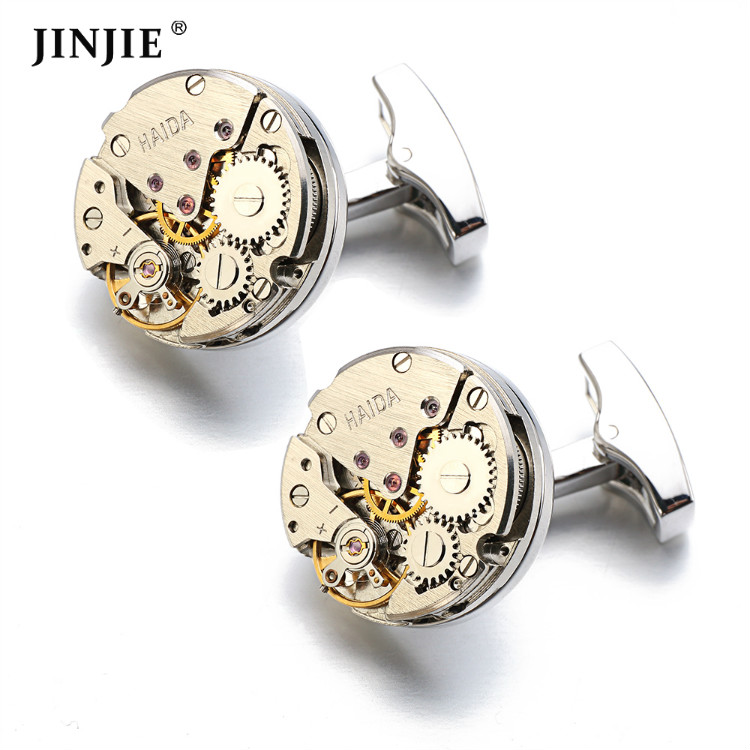 시계 메커니즘 Movement Cufflinks 및 immovable Stainless Steel 데요, 기어 Cufflinks 대 한 망
