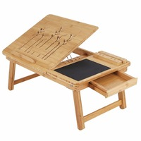 Bamboo Lap Desk Portable Breakfast Serving Bed Tray with Tilting Top Drawer