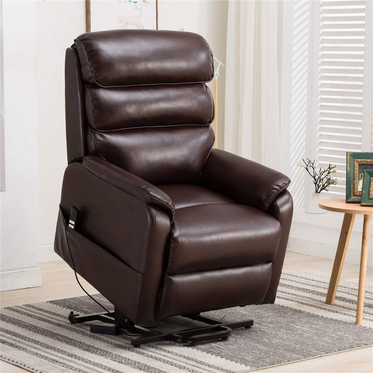 Irene House (Dual Motor)Electric Power Lift Recliner Chair For Elderly Comfortable (Breath Leather ),Soft and Sturdy(Brown) …