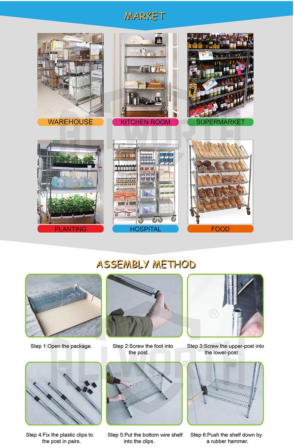 Corner Vegetable Rack Cardboard Stainless Steel Wire Rack With S Hook