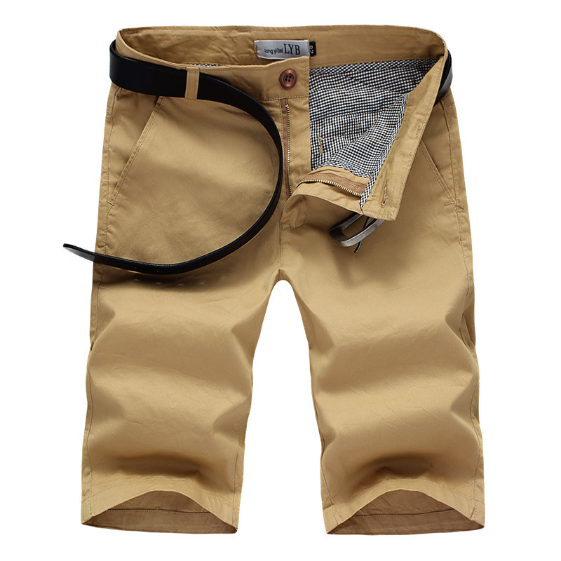 fdbc8114eb9 Summer Causal Khaki Cargo Shorts Men Cotton Khaki Cargo Shorts Solid Beach  Short Plus Size Breathable Khaki beachShorts 2015