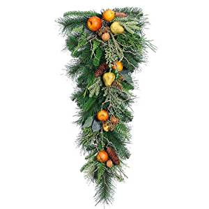 """32"""" Artificial Mixed Fruit, Walnut & Pine Teardrop Swag -Brown/Green (pack of 2)"""