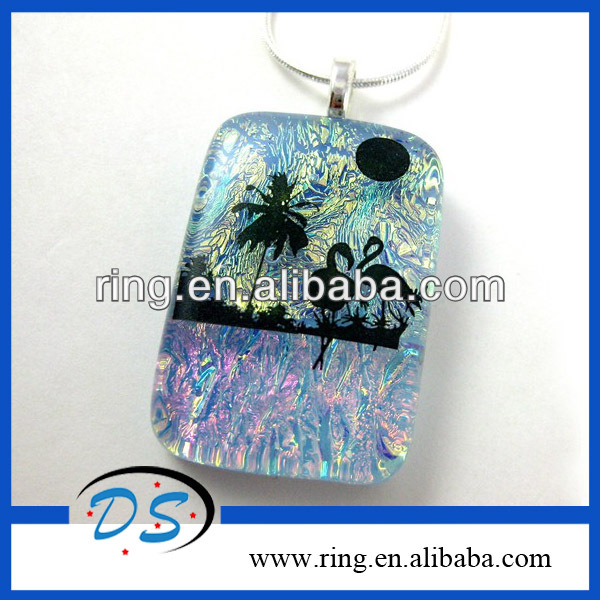 New Design Black Flamingo Silhouette Dichroic Glass Pendant Necklace