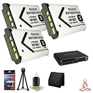 Four Halcyon 1800 mAH Lithium Ion Replacement NP-BX1 Batteries and Charger Kit Deluxe Starter Kit for Sony Cyber-shot DSC-HX400V Digital Camera and Sony NP-BX1 Memory Card Wallet SDHC Card USB Reader