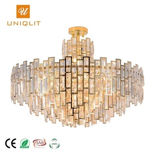 Hotel Project Modern Decorative Ceiling Stainless Steel Crystal Golden Chandelier Pendant Light Fixture