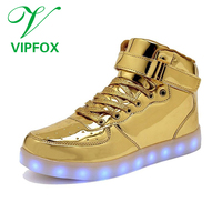 vipfox New style factory unisex led shoes light comfortable high top customized led shoes