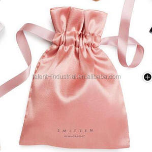 New hot selling wedding invitation silk pouches with ribbon/silk jewelry pouch