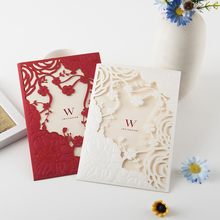 Hot Sale New Paper Material Customized laser cut luxury indian invitation wedding card design