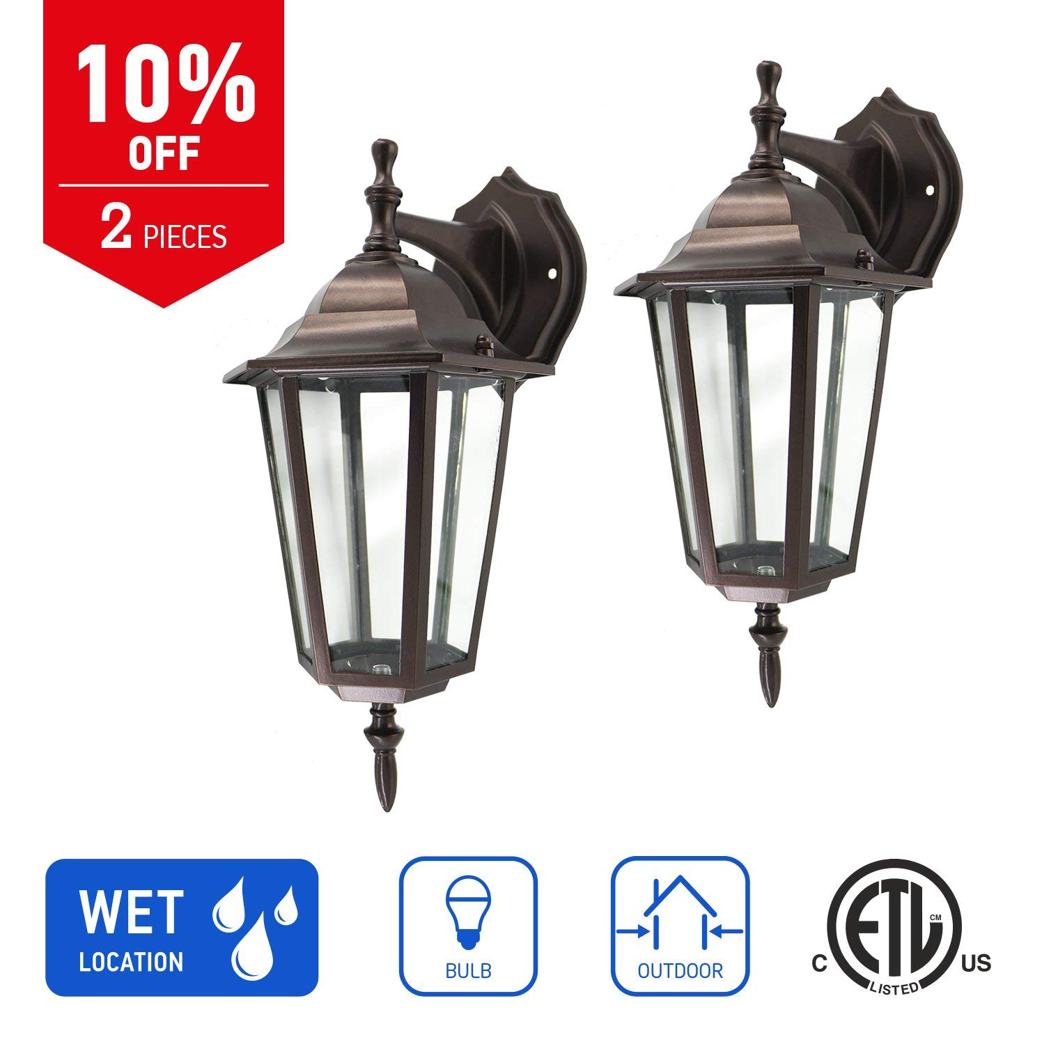 IN HOME 1-Light Outdoor Exterior Wall Down Lantern, Traditional Porch Patio Lighting Fixture L01 with One E26 Base, Water-Proof, Bronze Cast Aluminum Housing, Clear Glass Panels, (2 Pack) ETL Listed