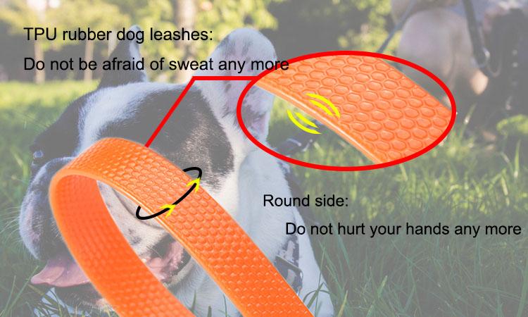 Tùy Chỉnh Không Thấm Nước Tiện Ích Độ Đàn Hồi Cam TPU Pet Dog Leash Với Anti-Slip Xử Lý
