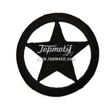 Embroidered Patch Black Ring Circle Star Sew On Patches For Sale