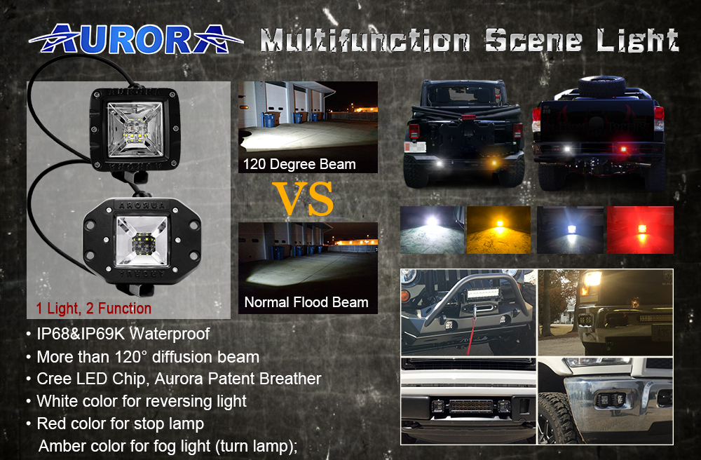 AURORA 2inch Tail Light Amber White Light offroad led lamp