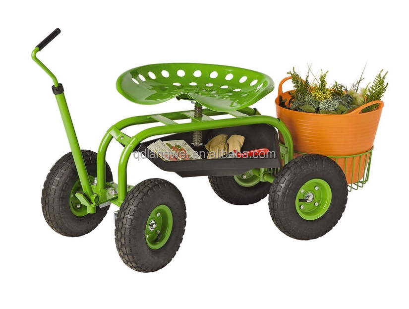 Swiveling Tractor Style Rolling Garden Work Seat Cart