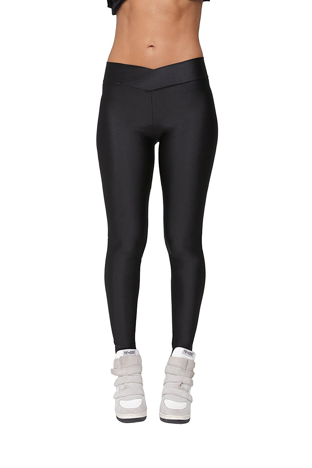 d37c16a6f3f Get Quotations · Yukata Women s Stretch Skinny Shiny Spandex Yoga Leggings  Workout Sports Pants