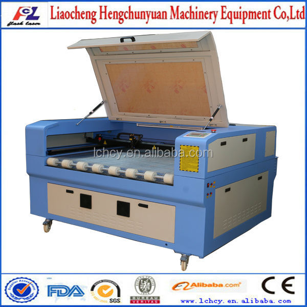 double heads co2 80W laser cloth/fabric/leather/wool cutting machine 6090 for sale