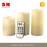 12 color changing pillar magic weatherproof 3 piece led candle