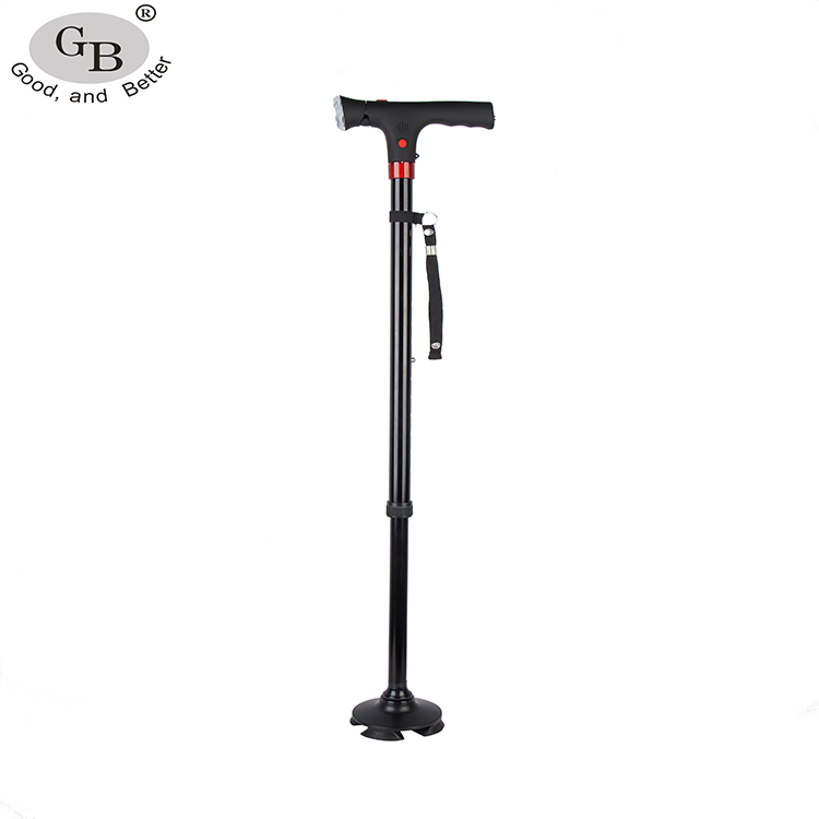 Elderly Folding Adjustable Walking Stick with Light and Alarm
