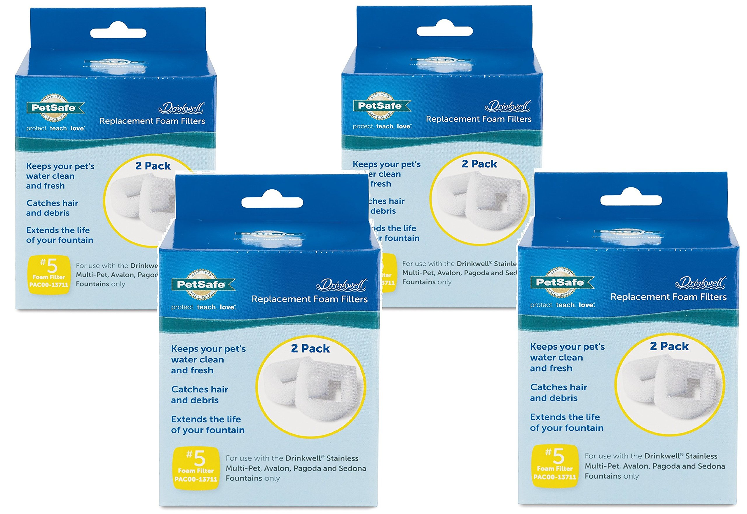 Drinkwell Foam Replacement Pre-Filters - 8 Filters Total (4 Packs with 2 Filters per Pack)