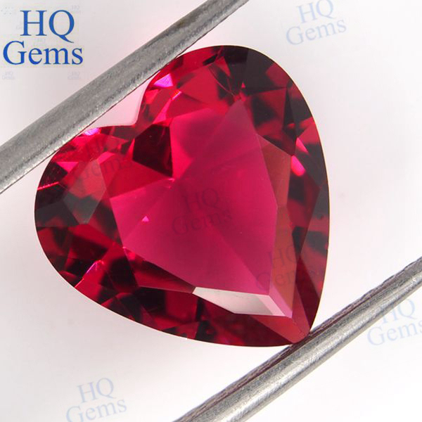 Hq Red Heart Shaped Synthetic Glass Gems Crystal Glass