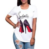Women's Fashion High-heeled Shoes Printed T-shirt Casual Irregular Tops Blouse
