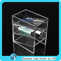Office Perspex Stationery Display Case, 3 Tier Clear Acrylic Pen Display