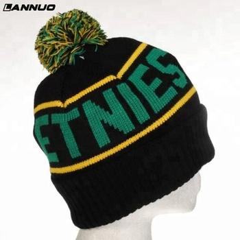 7e1bf13b5e908 2018 China factory hot sale embroidery pom pom knit custom winter beanie hat