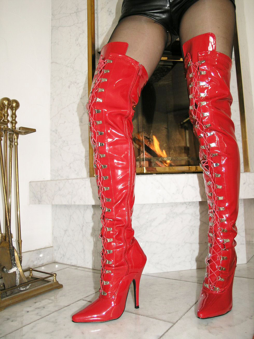 Red Leather Thigh High Boots Yu Boots